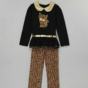Young hearts cat applique tunic and leggings black
